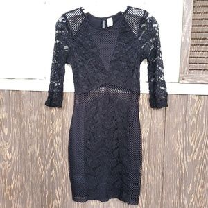 H&M bodycon black sexy lace panels dress size 6
